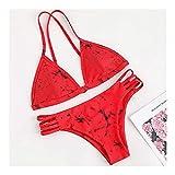 Gcxzb BañAdores Mujer Ropa de Playa usando Traje de baño Mujeres de Dos Piezas, Juego de Bikini (Color : Rosso, Size : L)