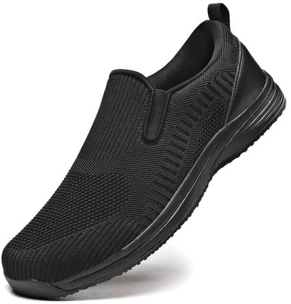 EXEBLUE Mens Kitchen Shoes Slip-Resistant Work Shoes for Chefs Food Service Shoes Breathable Mesh Upper, Black
