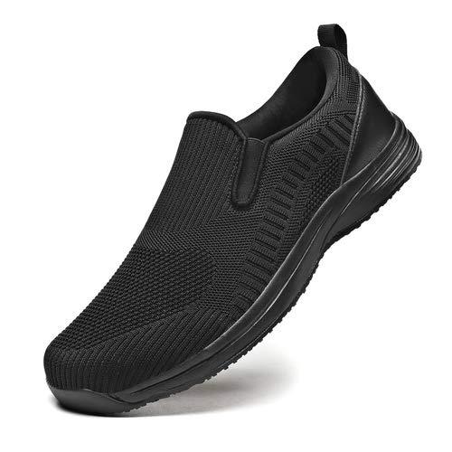 EXEBLUE - Zapatos de cocina para hombre, antideslizantes, resistentes a los zapatos de trabajo para cocineros de servicio de alimentos y zapatos de malla transpirable, color negro, negro, 9