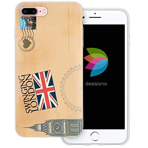 dessana postzegels transparante beschermhoes mobiele telefoon case cover tas voor Apple, Apple iPhone 8 Plus, Ansichtkaart Londen