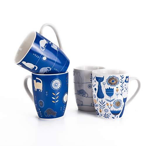 Set of 4 11.5 oz Blue and White Cat Coffee Mugs, Milk Tea Ceramic...