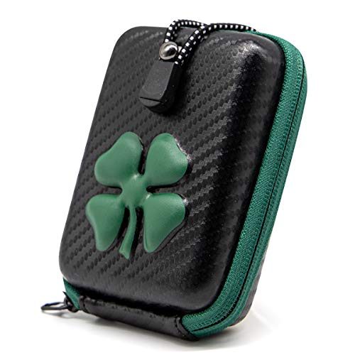 Green Clover Golf Range Finder Bag Hard Case for Tectectec Callaway, Taylormade, Ping,etc (Black-Green Clover)