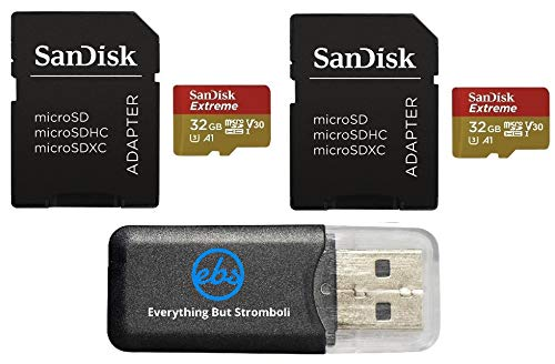 32GB Sandisk Extreme (Two Pack) 4K Micro Memory Card (SDSQXAF-032G-GN6MA) UHD Video Speed 30 UHS-1 V30 32G MicroSD HC Bundle with Everything But Stromboli (TM) Card Reader
