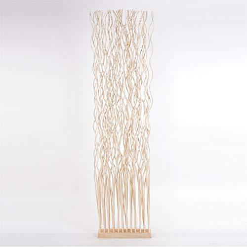 DESIGN DELIGHTS Weiden RAUMTEILER Wave | Weidenholz, 170x44 cm (HxB) | Paravent aus Weidenzweigen, Raumtrenner, Stellwand, Raum Trennwand | Farbe: geblichen