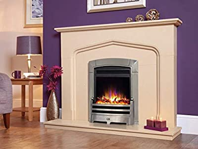 """New Designer Celsi Fire - Electriflame XD Hearth Mounted Electric Fire 16"""" Caress Bauhaus Polished Silver"""