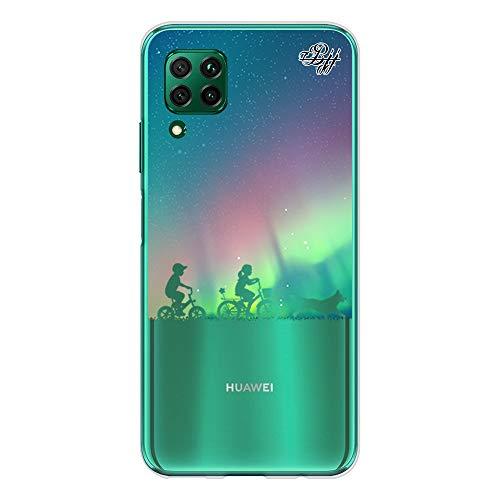 BJJ SHOP Custodia Trasparente Slim per [ Huawei P40 Lite ], Cover in Silicone Flessibile TPU, Design: Bambini dell Aurora boreale con Bicicletta e Cane