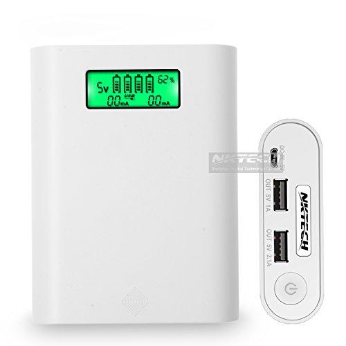 nktech e3s 4-Slot LCD externa Power Bank 18650caja de batería USB cargador soporte para iPhone Samsung Huawei Sony HTC Android teléfono celular E3de software White-No Battery