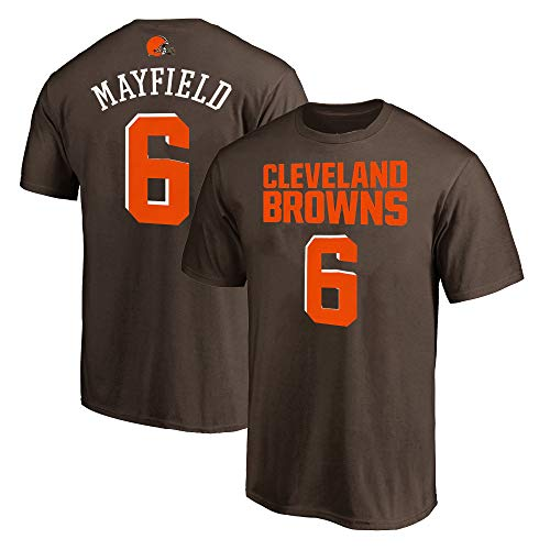NFL Youth 8-20 Team Color Polyester Performance Mainliner Player Name and Number Jersey T-Shirt (Medium 10/12, Baker Mayfield Clevelnad Browns Brown)