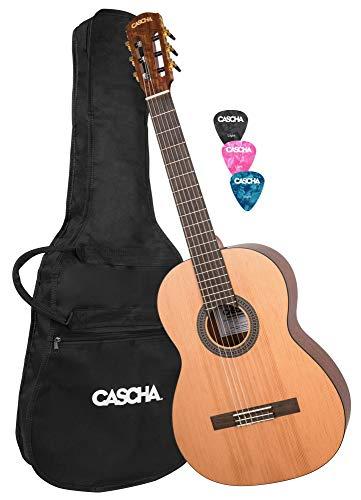 CASCHA 4/4 Konzertgitarre-Set inkl. Tasche & 3x Plektron I Klassische Gitarre für Anfänger & Kinder ab 10 Jahren I Akustik-Gitarre mit Nylon-Saiten - ideal zum Gitarre lernen I Classic Guitar