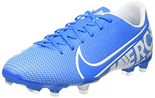 Nike Vapor 13 Academy Fg/MG, Football Shoe, Blue Hero/White-Obsidian, 35 EU