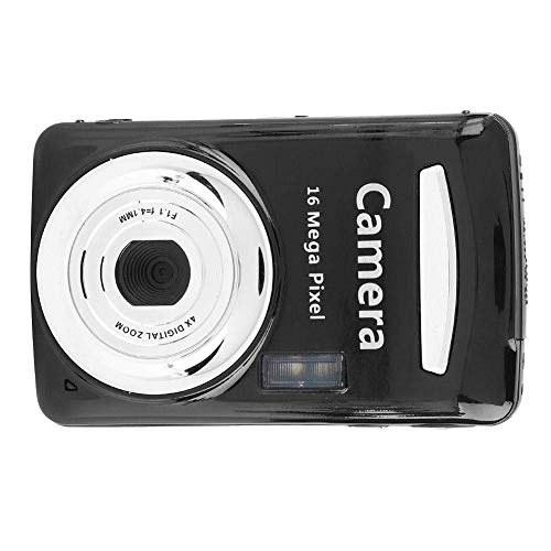 "Tonysa Pantalla LCD de 2.4""Cámara Digital ultradelgada HD 16MP 720P 30FPS Zoom 4X, Mini cámara para Exteriores Interfaz de visión Nocturna Cámara Digital USB2.0 Cámara Video(Negro)"