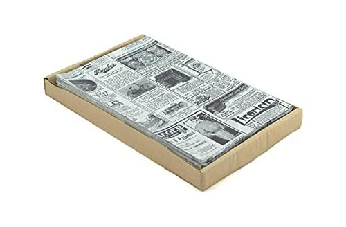 Hostelnovo 500 sztuk papieru do pakowania żywności - jeden rozmiar 32 x 20 cm - specjalny do koszyków i każdego rodzaju pojemników - papier gazetowy