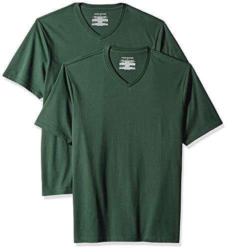 Amazon Essentials - Camiseta de manga corta de cuello de pico y corte holgado para hombre, paquete de 2 unidades, Verde (Dark Green Dar), Small