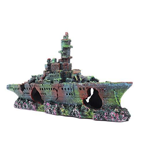 Ulifery Little Aquarium Shipwreck Sunken Pirate Ship Fish Tank Decorations for Betta