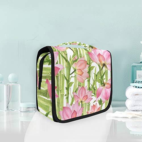 Bambou Rose Lotus Vert Trousse De Toilette Sac Pliable Suspendu Cosmétique Sac Rangement Maquillage sacs pour Voyage Femmes Filles