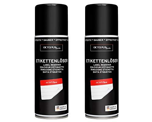 2x OCTOPUS Etikettenentferner und Kleberlöser Spray, Klebstoff-Entferner zum Lösen hartnäckiger Rückstände, mit Orangenöl - 200 ml