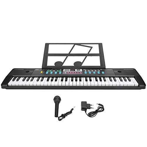 Piano de teclado de 61 teclas, Piano de enseñanza portátil, Piano de teclado con micrófono y soporte para piano Instrumento musical electrónico para principiantes (EU)
