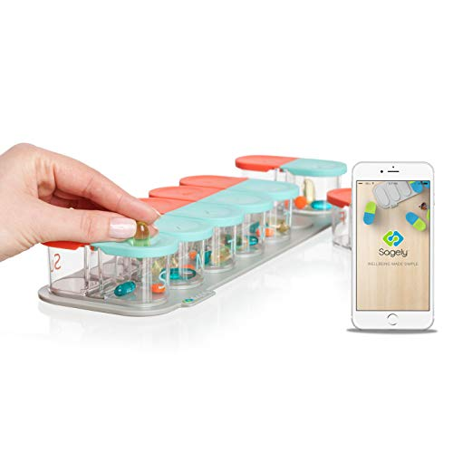 Sagely SMART Weekly Pill Organizer - Sleek AM/PM Twice a Day Pill Box with Free Smartphone Reminder App and 7 Day Travel Containers (Large Enough to Fit Fish Oil and Vitamin D) (Mint Blue/Coral)