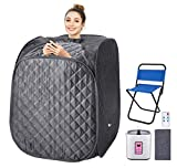 OppsDecor Portable Steam Sauna Spa, 2L Personal Therapeutic Sauna for Weight Loss Detox Relaxation at Home,One Person Sauna with Remote Control,Foldable Chair,Timer(US Plug) (Grey_Cube)