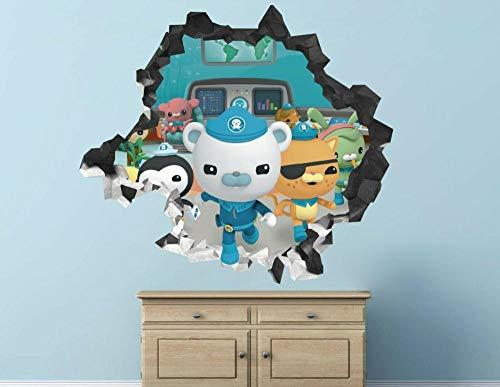Väggklistermärken sous-marin aventure sticker mural décoration enfants brisé 3d autocollant art vinyle Dekorationer för barnkammare 50 * 70cm