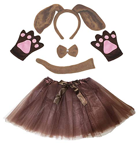 Petitebelle Perro diadema Bowtie Guantes de cola Tutu niños Disfraz de 5 piezas Un tamaño Perro marrón