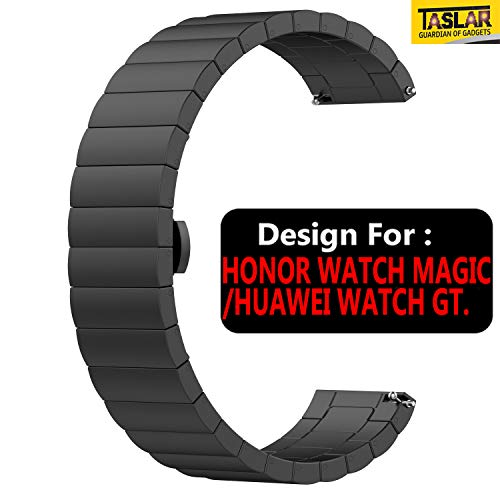 TASLAR Stainless Steel Metal Band Strap Wristband Bracelet with Buckle Adjuster for Honor Watch ****/Huawei Watch GT (Black)