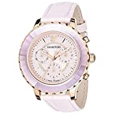 SWAROVSKI Crystal Authentic Octea Lux Chrono Watch, Leather Strap, Pink, Rose Gold Tone - High Class Stone Studded Swiss Made Timepiece Jewelry and Everyday Accessory for Women