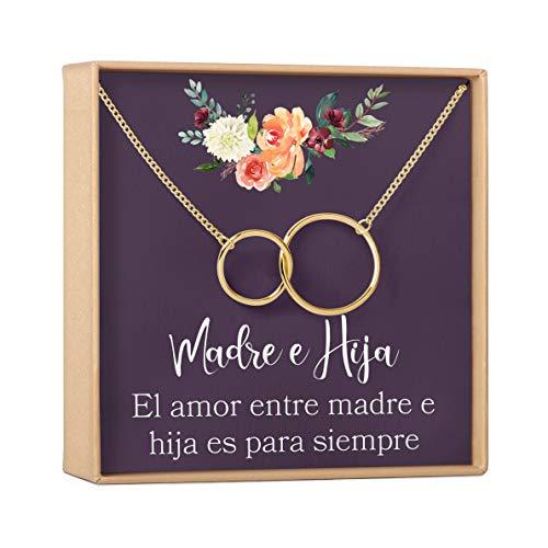Collar Regalo Madre e Hija: Día de la Madre, Cumpleaños, Día de la Mujer, Mamá, 2 Interlocking Circles (gold-plated-brass, NA)