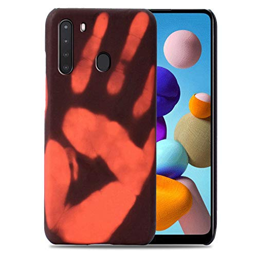 Hicaseer Case for Galaxy A21,Thermal Sensor Case&Ultra Thin Anti-Scratch Stylish Color Changing Protective Cover for Samsung Galaxy A21 6.5' - Black+Red