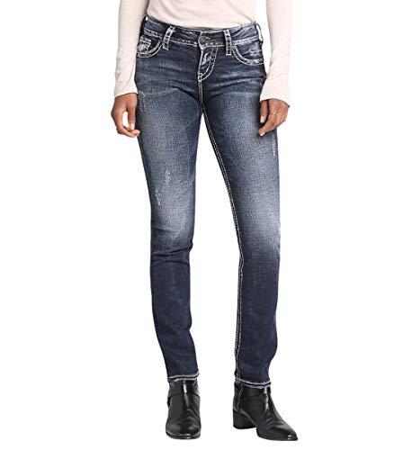Silver Jeans Damen Suki Mid Straight Jeans, Vintage Dark Wash mit Lurex-Stich, W30/L32 (Herstellergröße: 30)
