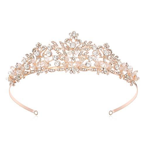 Makone Corona Tiara Regina diadema di Cristallo per Sposa Principessa Donna Bambina Coroncina Pageants Parti Compleanno Corona Tiara(Style-9-A)