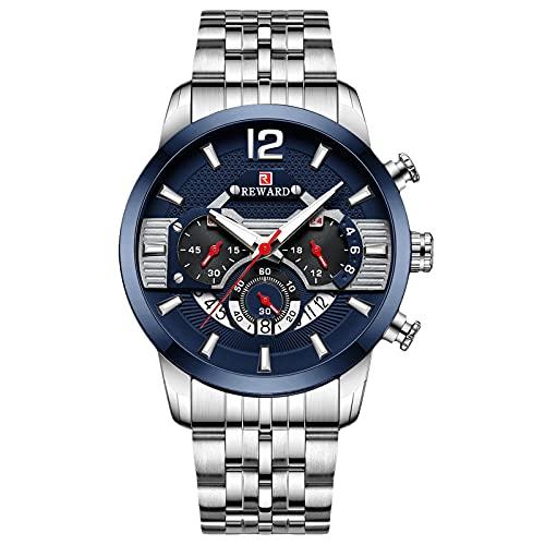 RORIOS Hombre Relojes Impermeable Cronografo Analógico Cuarzo Reloj con Correa de Acero Inoxidable Luminoso Moda Deportivo Relojes de Pulsera para Hombre