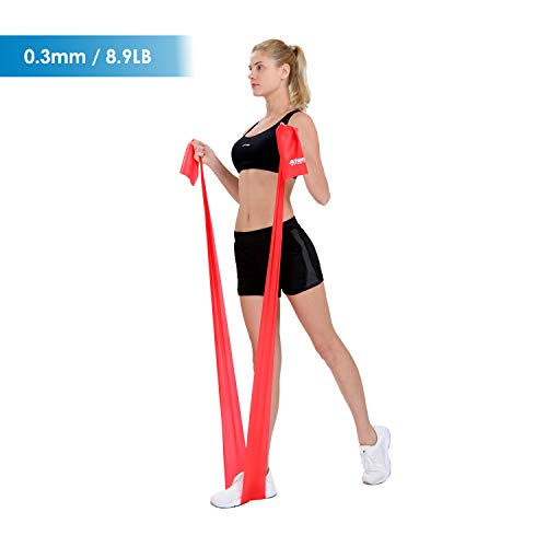 Atemi Sports Resistance Band   1.2 Metre or 2 Metre   Four Resistance Levels   Free Workout Guide   Exercise Band Ideal for Physiotherapy, Strength and Fitness Training (Red/Medium, 2m)