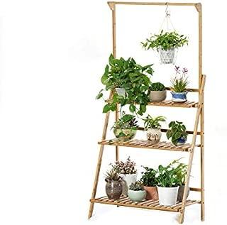 Bamboo 3-Tier Hanging Plant Stand - Planter Shelves Flower Pot & Organizer Storage Rack, Folding Display Shelving Plants Shelf Unit Holder