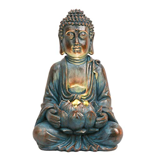TERESA'S COLLECTIONS Garden Buddha Statue with Solar Lights, Meditating Buddha Serene Decorative Sitting Sculpture with Lotus for Table Desk Outdoor Patio Yard and Zen Decorations (12.6 Inch)