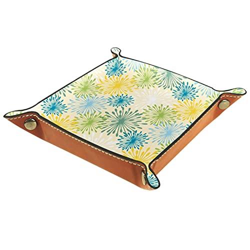 MUMIMI Plato cuadrado de cuero para mujer y niña, bandeja de joyería, patrón de dientes de león colorido regalo de cumpleaños para el día de la madre