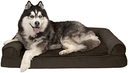 Best Furhaven Pet Dog Bed - Memory Foam Ultra Plush Faux Fur & Suede Traditional Sofa-Style Living Room C