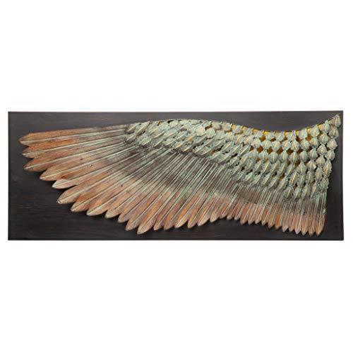 Design Toscano De vleugel van de karus, sculptuurale wandvrouw van metaal, afmetingen: 6,5 x 36,5 x 34,5 cm