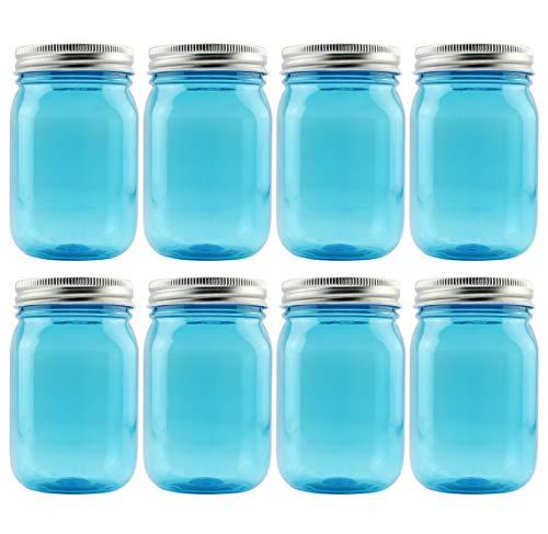 Cornucopia 16oz PLASTIC Mason Jars (8-Pack, Blue w/ Silver Metal Lids); PET BPA-Free Mason Jars with One Piece Lids, 2-Cup/Pint Capacity, Compatible w Regular Mouth Mason Jar Lids; Vintage Style PLASTIC Jars
