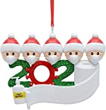 Feyees Personalized Name Christmas Ornament Kit with Mask, 2020 Quarantine Survivor Family Customized Christmas Decorating Kit Creative Gift(Small, Family of 5)
