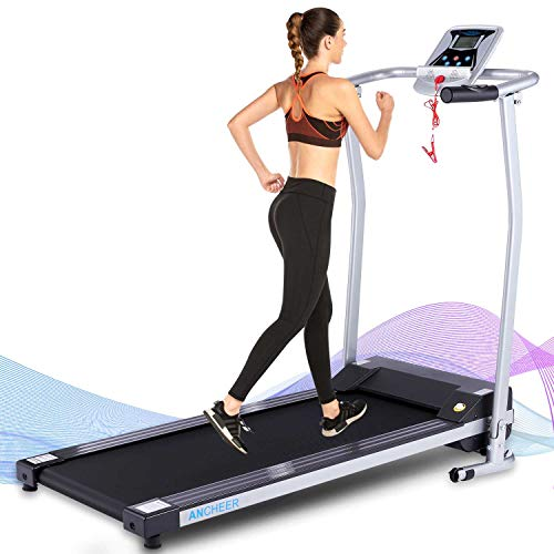 ANCHEER Folding Treadmill, 12 Preset Programs, Treadmills with LCD Monitor Motorized and Pulse Grip, Indoor Walking Jogging Running Exercise Machine Trainer for Home Office Workout (Gray)