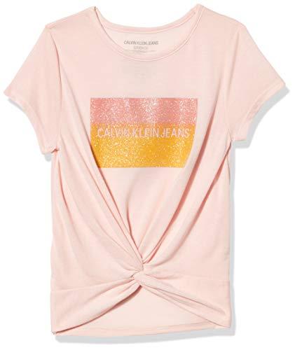 Calvin Klein Mädchen Girls' Tie Front Tee T-Shirt, Krawatte vorne Melone, Klein