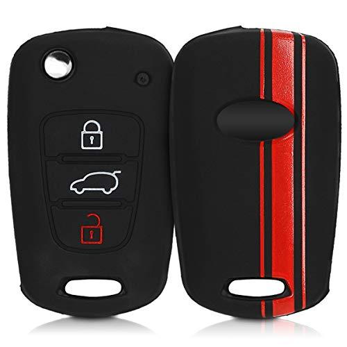 kwmobile Funda Compatible con Hyundai Llave de Coche Plegable de 3 Botones - Carcasa Protectora Suave de Silicona - Rally