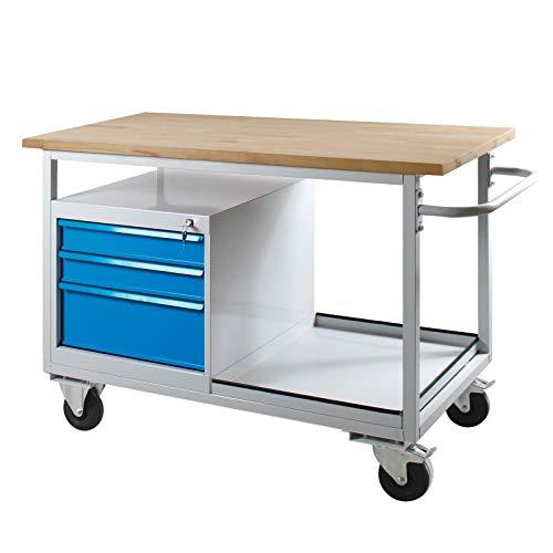 ADB fahrbare Werkbank mit 3 Schubladen, bis 500kg belastbar, Werktisch, Rollwagen, Montagewerkbank, L1300xb600xh850mm, Tischwagen, für Werkstatt, Packtisch, Fahrbar mit Rollen, Hergestellt in der EU