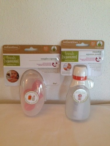 Infantino Fresh Squeezed Bolsa de apretar reutilizable e Infantino Fresh Squeezed Pareja A Cucharas
