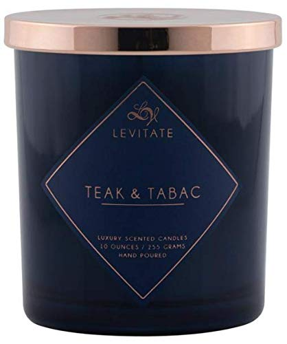 LEVITATE | TEAK & TABAC 10oz Candle | Navy Glass with Rose Gold Lid | Everyday Essentials