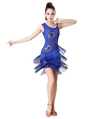 KINDOYO Femmes Vêtements de Danse sans Manches Gland Robe de Danse Latine Performance Compétition Costume, Bleu Marin/XL