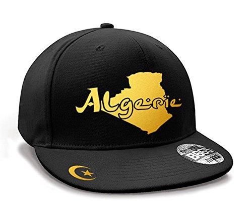 Casquette Hip Hop Algérie Mini Pays Noir et Or Métallisé