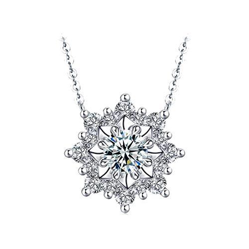 Dreamdge 18K White Gold Necklace Snowflakes Long Necklaces for Women, 0.21ct White Diamond Pendant Necklace