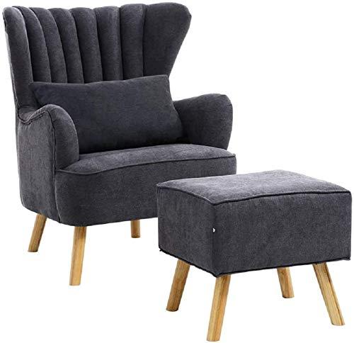 Sessel aus Stoff für Wohnzimmer, modernes Lehnensessel, gelegentlich, mit Fußstütze grau